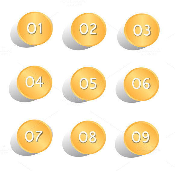 Numbers Vector Button Design