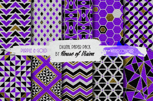 Purple Gold Geometric Pack