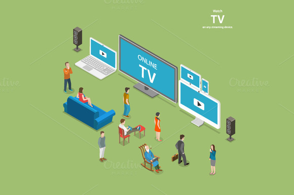 Streaming TV Isometric Concept