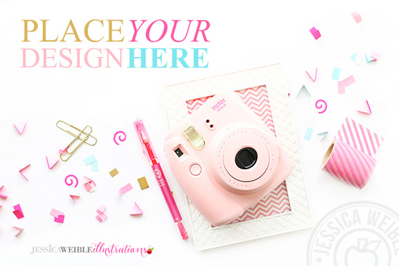 Confetti Pink Camera Styled Photo