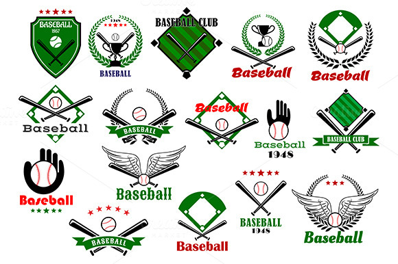 Baseball Emblems Or Logo With Items