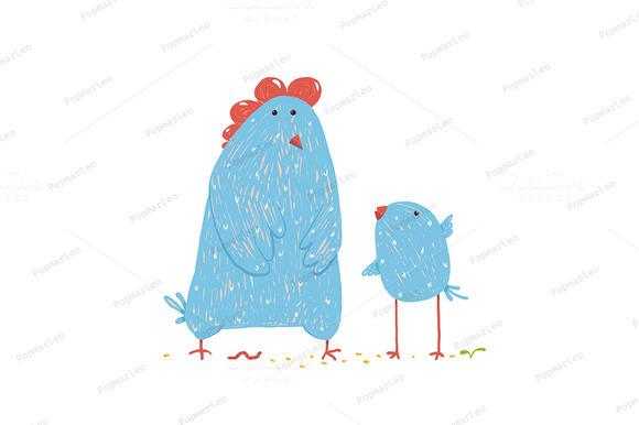 Hen And Chicken Childish Cartoon