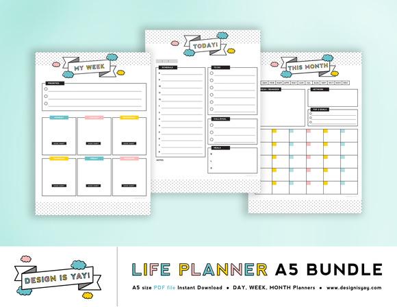 Life Planner A5 PDF Bundle