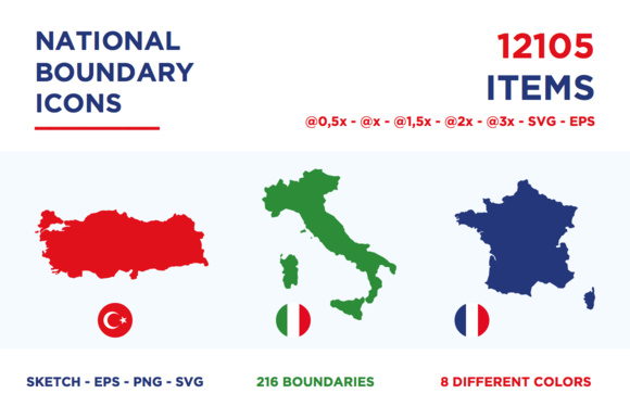 National Boundary Icons All World