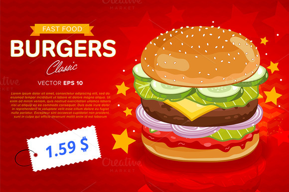 Cheeseburger Sale Banner Template