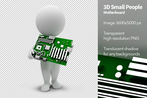 3D Small People Motherboard