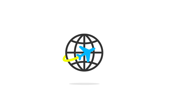 Vector Icon Of A Plane And Globe