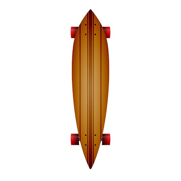Wooden Longboard Vector Illustration