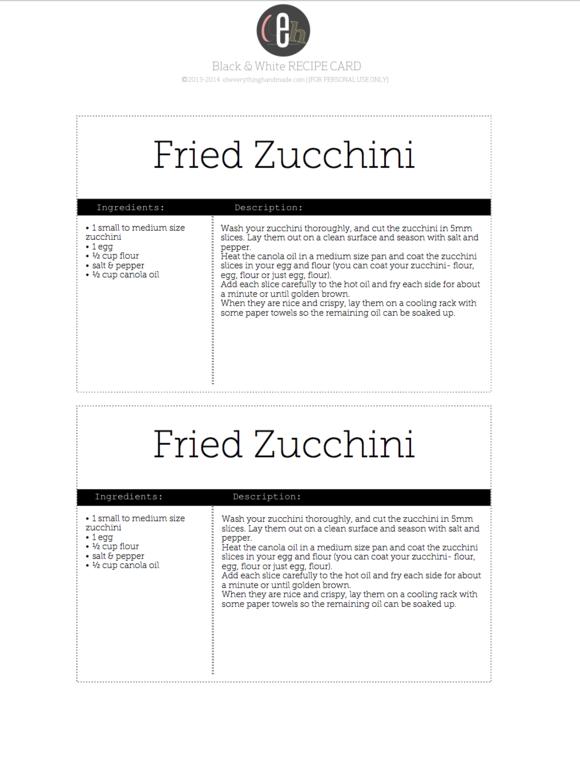 Black White Editable Recipe Card