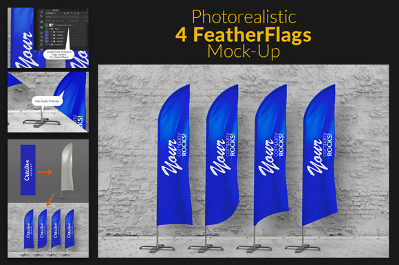 Feather Flags Bow Flags MockUp