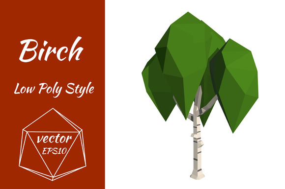 Birch In Low Poly Style Vector