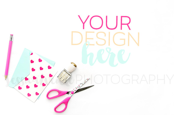 Designer Scissors Pink Heart Card