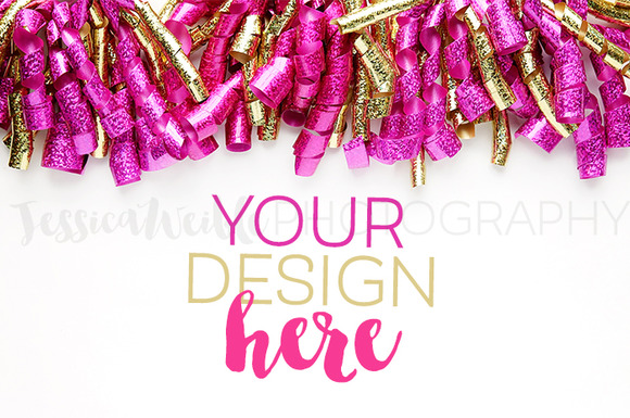 Fuchsia Gold Glitter Ribbon Curls