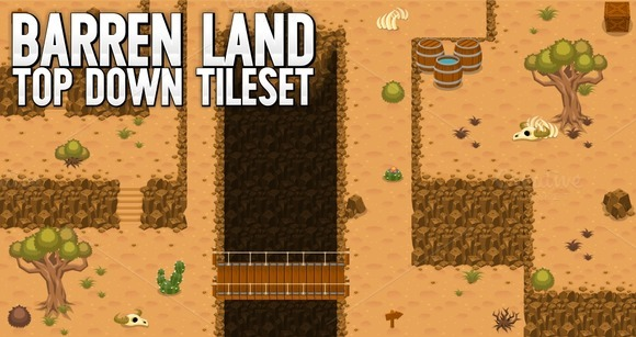 Barren Land Top Down Tileset