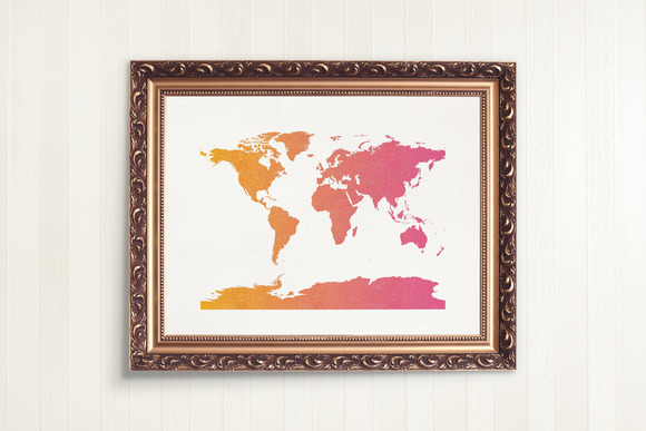 WORLD MAP PRINTABLE Pink And Gold