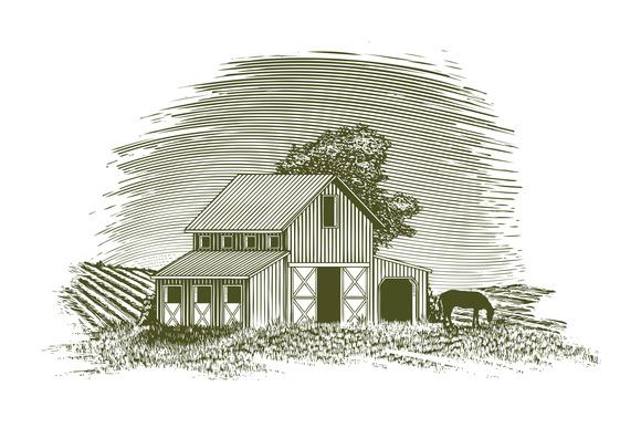 Woodcut Horse Barn