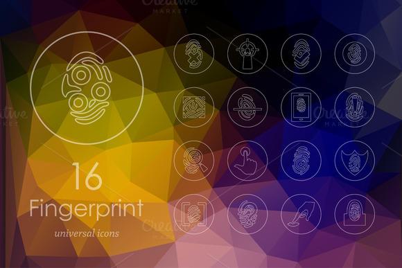 16 Fingerprint Line Icons