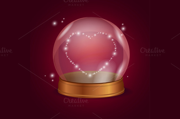 Empty Crystal Ball Valentine Heart