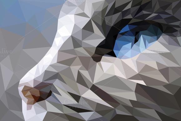 Geometric Cat Vector Illustration