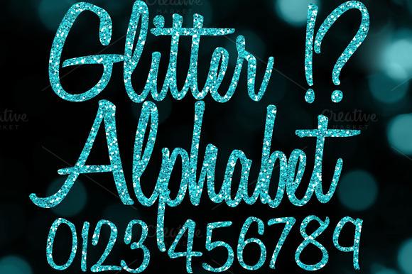Blue Glitter Alphabet Clipart PNGs