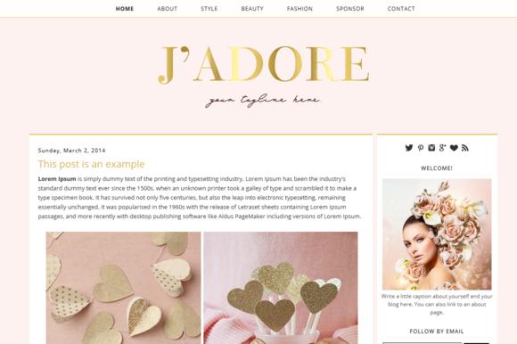 Premade Blogger Template Jadore