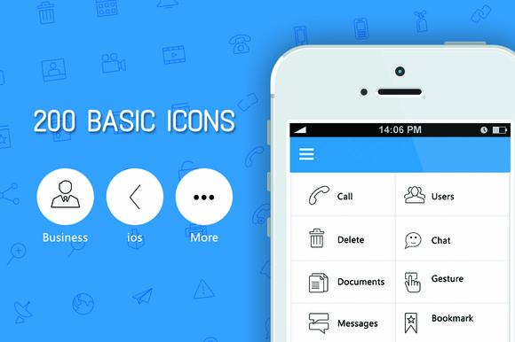 200 Basic Icon Set Licons