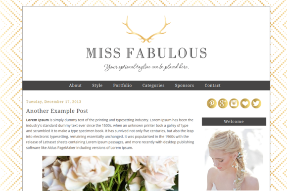 Premade Blogger Template Miss Fab