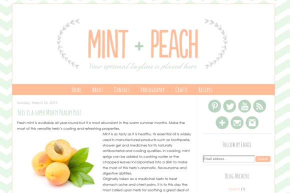 Premade Blogger Template Mint Peach
