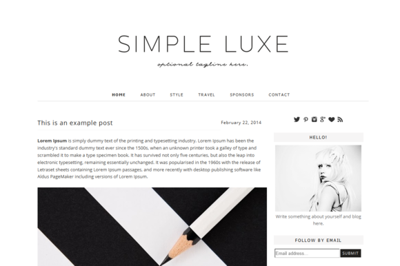 Premade Blogger Template Simple Lux