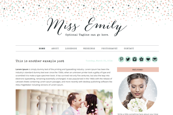 Premade Blogger Template Miss Emily