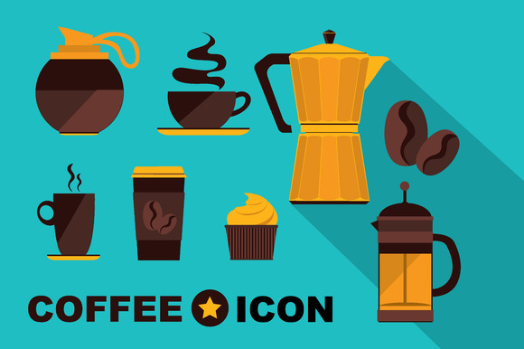 9 Icons Coffee Set Vintage Design