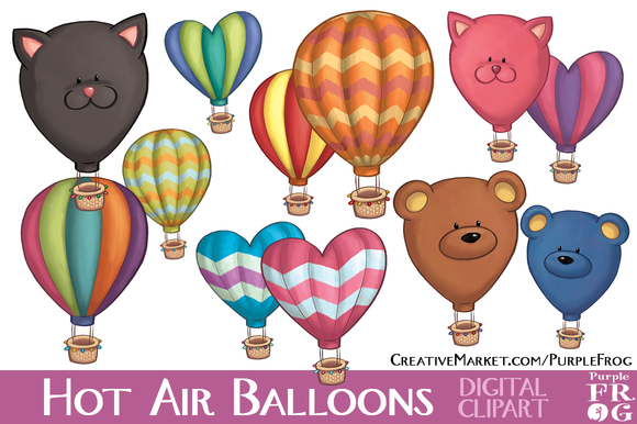 HOT AIR BALLOONS Digital Clipart