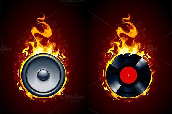 Burning Speaker And Vinyl Record