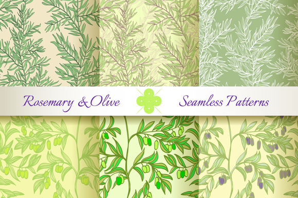 Rosemary Olive Set Of 6 Patterns