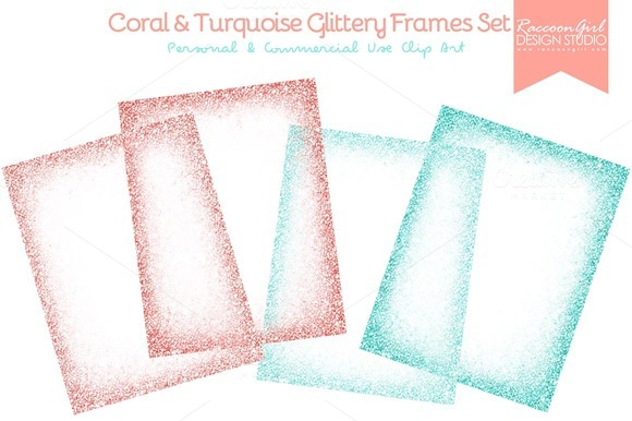 Coral Turquoise Glittery Frames