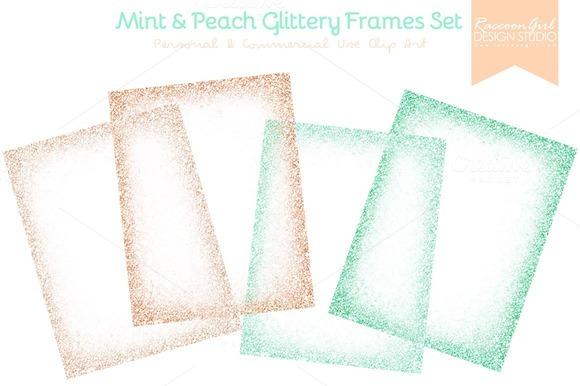Mint And Peach Glittery Frames Set
