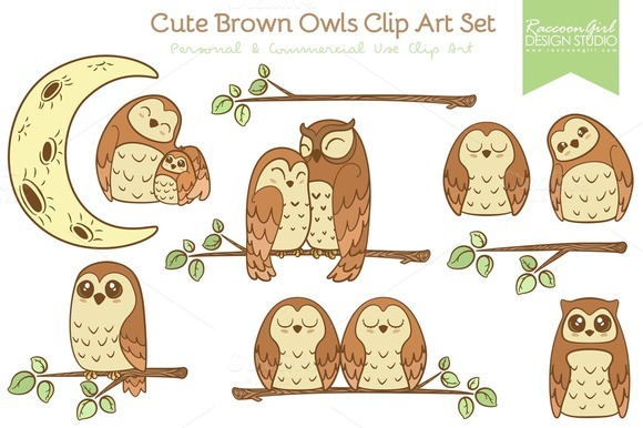 Cute Brown Owls Clip Art Set