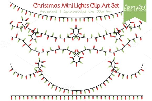 Christmas Mini Lights Clip Art Set