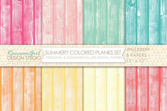 Summery Colored Wood Planks Set