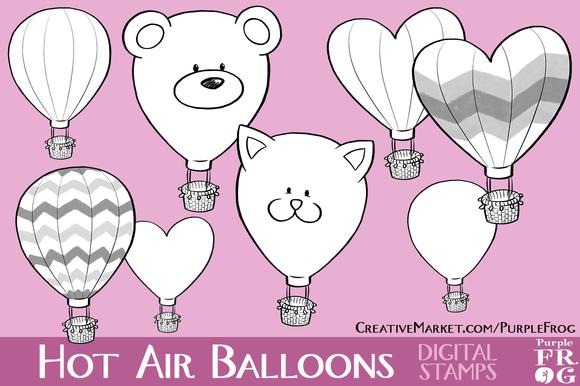 HOT AIR BALLOONS Digital Stamps