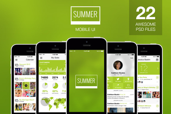Summer Flat Mobile Ui Elements
