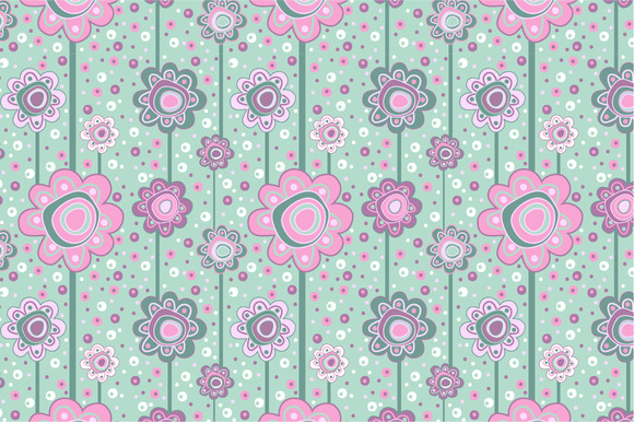 Seamless Pattern Pink Flowers
