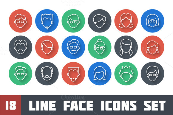 Line Face Icon Set