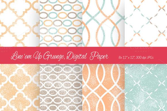 Line Em Up Grunge Digital Paper 8