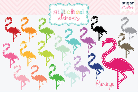 Flamingo Stitched Clipart Set