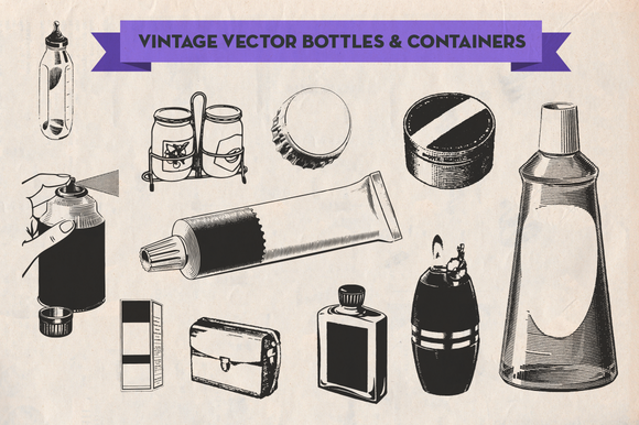 Vintage Vector Bottles Containers