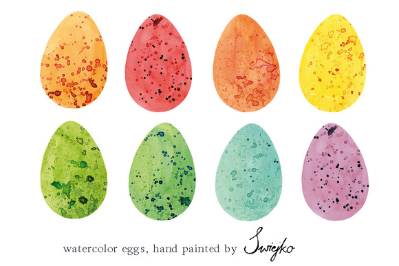 Easter Eggs Clipart Watercolor