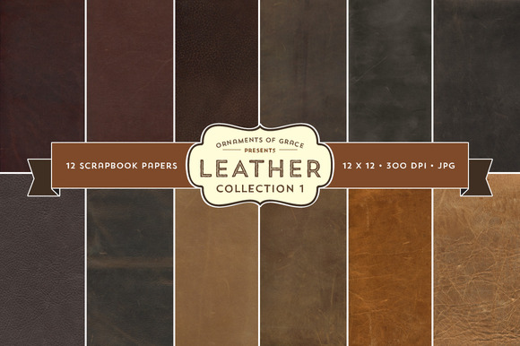 12 Leather Scrapbook Papers 12x12