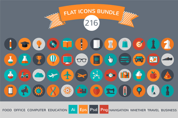 216 Flat Vector Icons Bundle