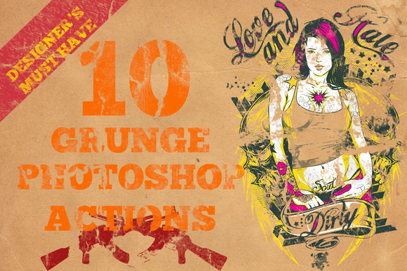 10 Grunge Photoshop Actions